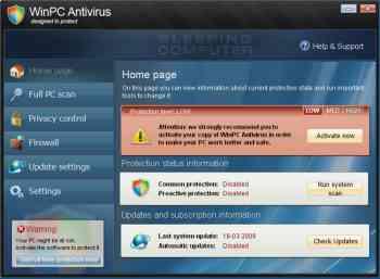 WinPC Antivirus Image