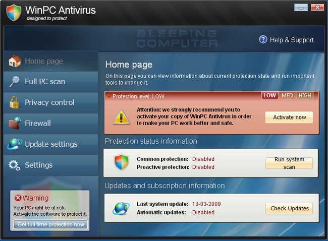 WinPC Antivirus screen shot