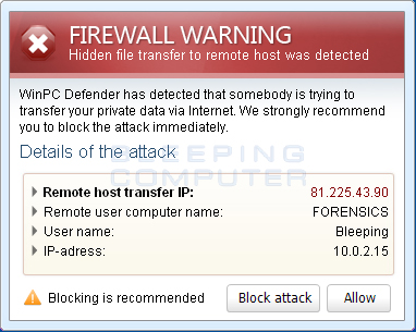 Firewall Warning pop-up