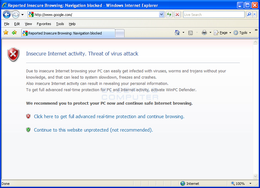 Internet Explorer Hijacked