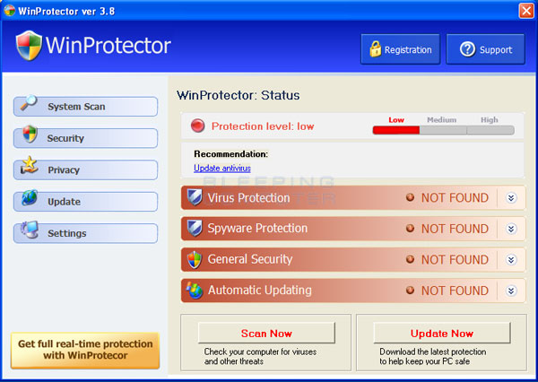 Screen shot of WinProtector