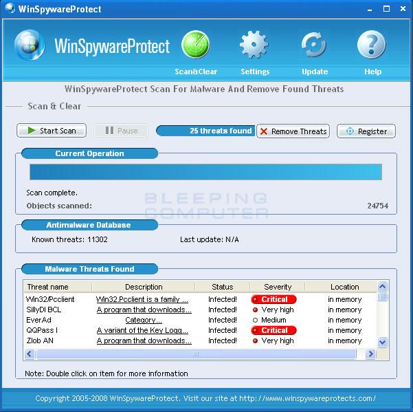 Screen shot of WinSpywareProtect