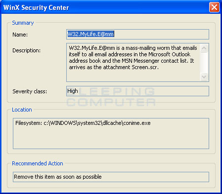 WinX Security Center False Positive #1