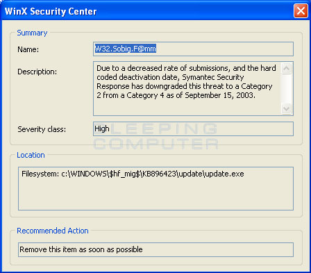 WinX Security Center False Positive #2