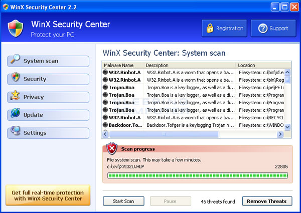 Screen shot of WinX Security Center
