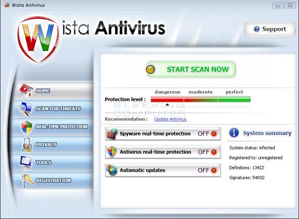 Wista Antivirus screen shot