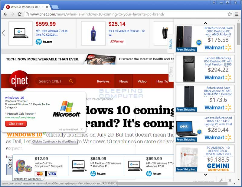 WordShark ads on CNET