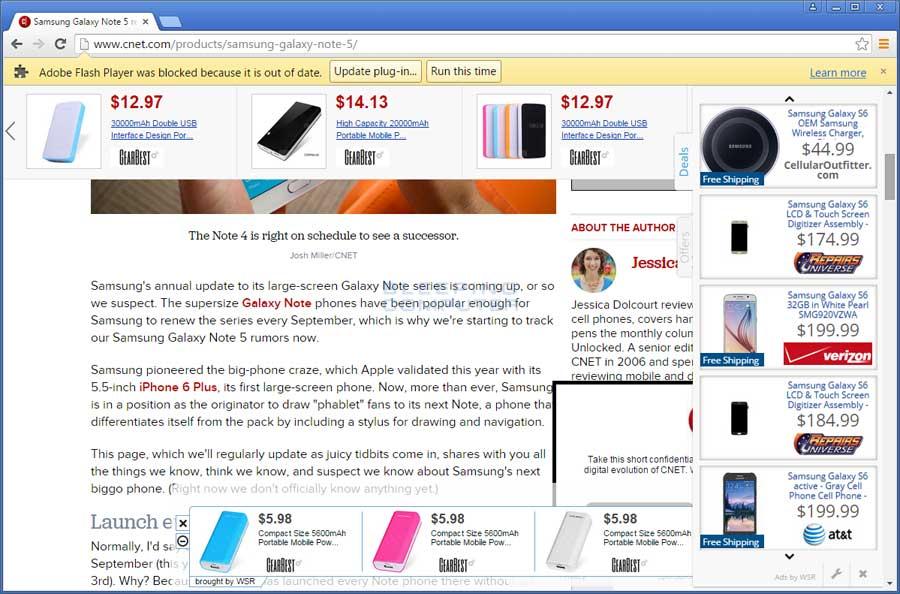 WordSurfer ads on CNET