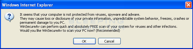 Exaggerated Security popup stating you should download WinSecureAV