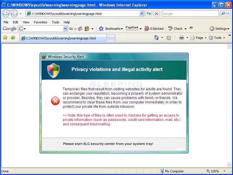 XLGuard Internet Explorer hijack