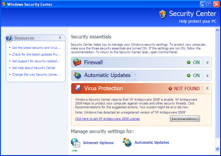 Fake Windows Security Center advertising XP Antispyware 2009