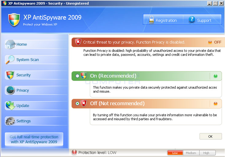 XPAntispyware 2009 Privacy Tab