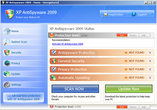 XP Antispyware 2009 screen shot