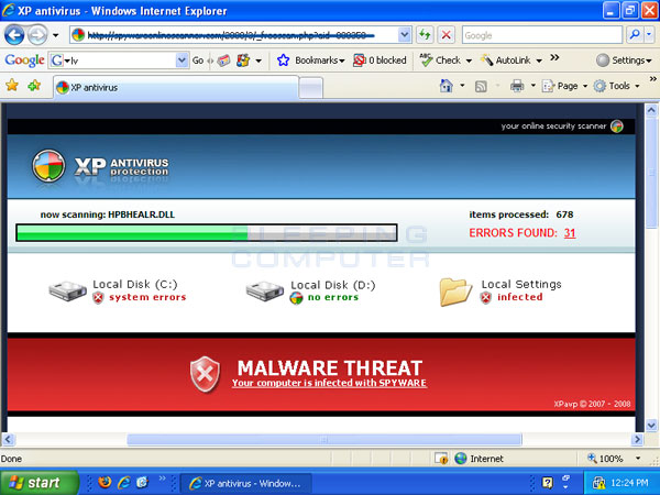 Fake web scanner for XP Antivirus 2008