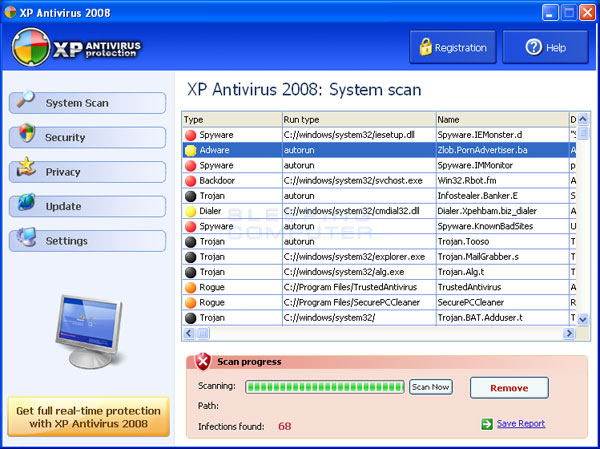 Scan results from XP Antivirus 2008