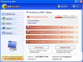 XP Antivirus 2008, XP Antivirus 2009, and XPAntivirus Image