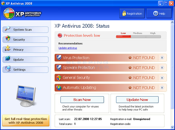 XP Antivirus 2008 screenshot