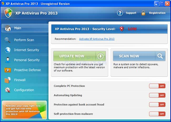 XP Antivirus Pro 2013 screen shot