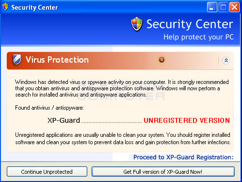 Fake alert from XP Guard