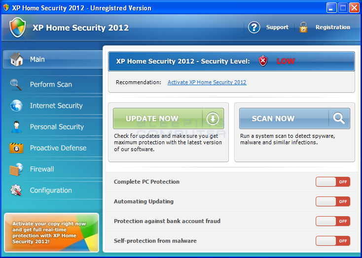 XP Home Security 2012 screen shot