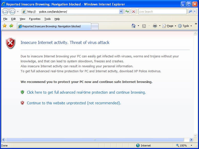 Internet Explorer Hijacked by XP Police Antivirus