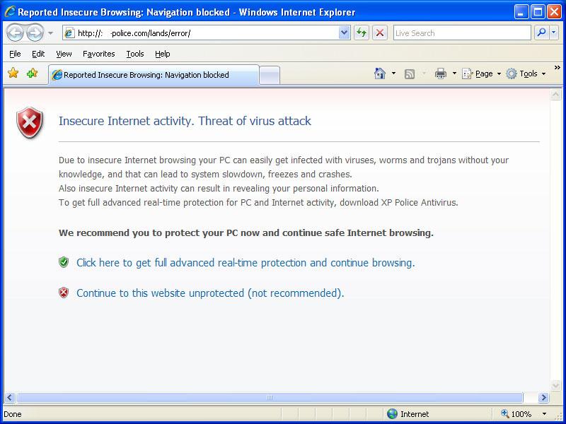 Internet Explorer Hijacked by XP Police Antivirus