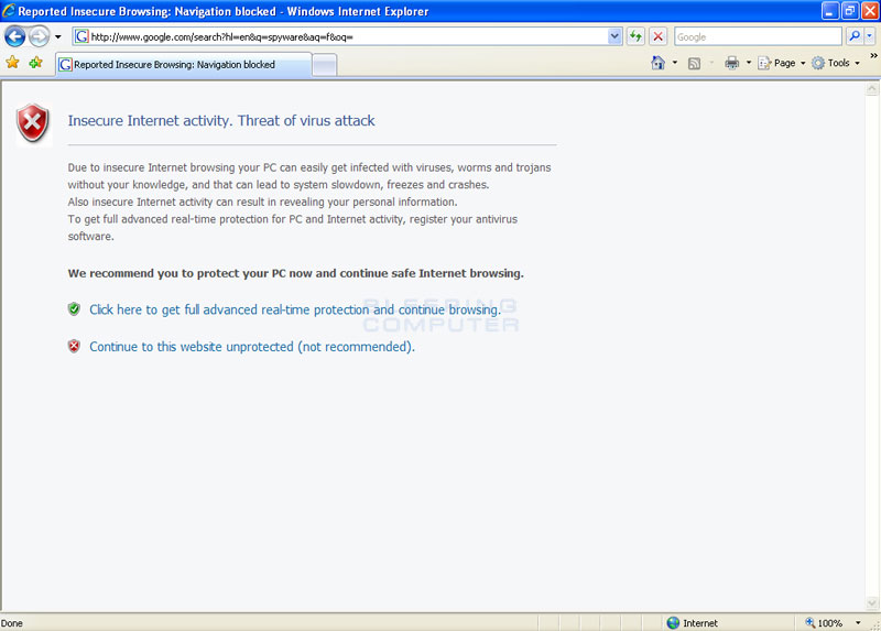 Internet Explorer hijacked by XP Protector 2009