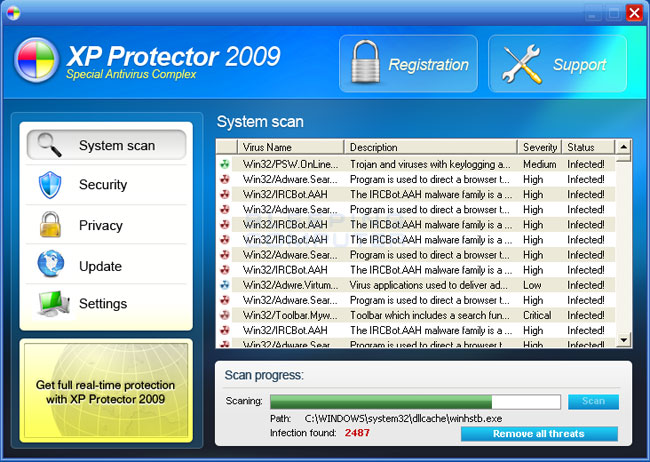 Screen shot of XP Protector 2009