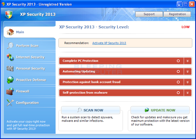 XP Security 2013 screen shot