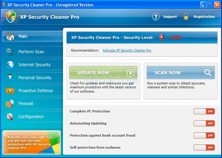 XP Security Cleaner Pro screen shot