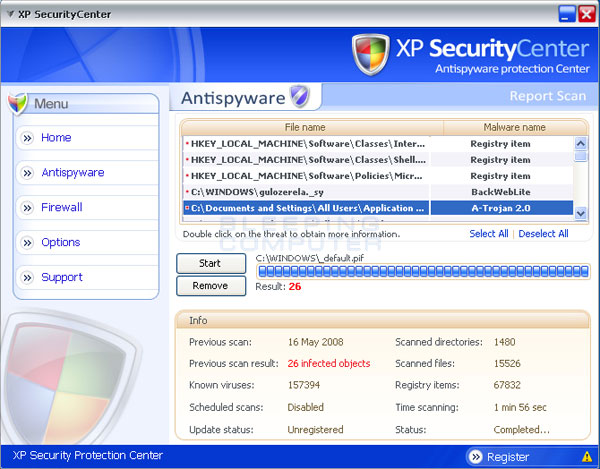 Fake results from a XP SecurityCenter Scan