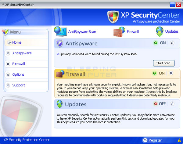 Screen shot of XP SecurityCenter