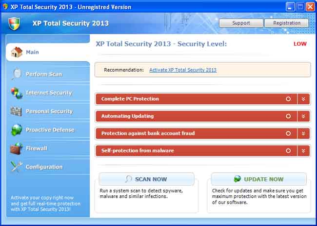 XP Total Internet Security 2013 screen shot