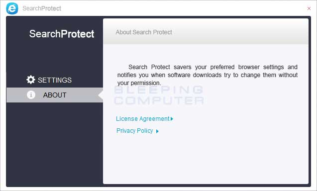 XTab and SearchProtect About tab