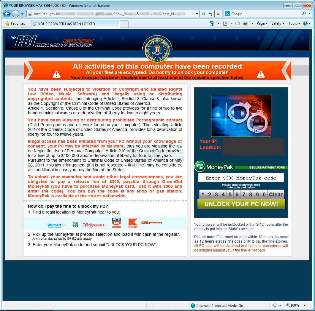 Your browser has been locked Ransomware screen shot