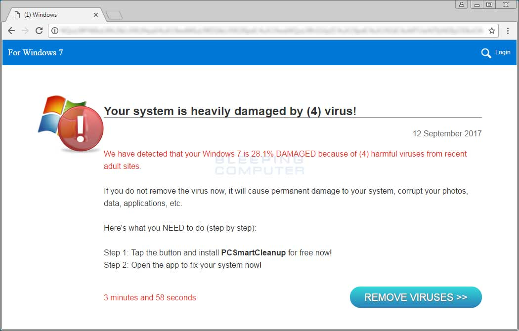 Your system is heavily damaged by (4) virus! Tech Support Scam