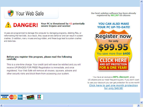 Ransom purchase screen for Your Web Safe