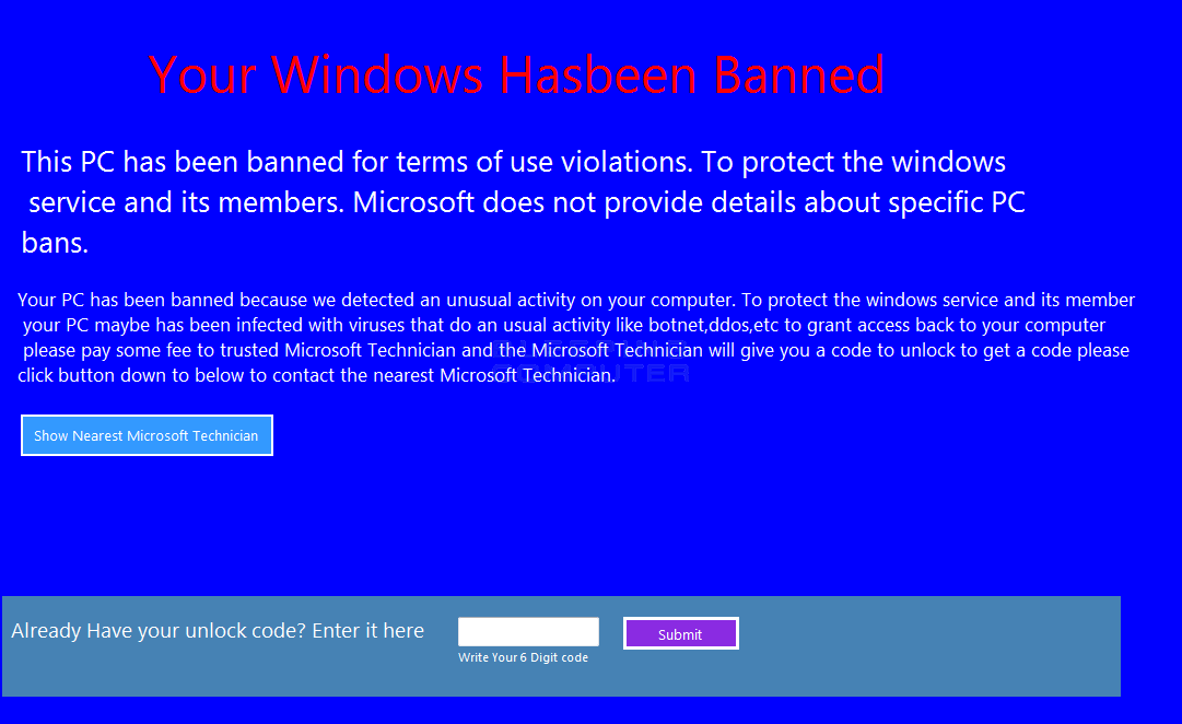 Your Windows hasbeen Banned lock screen