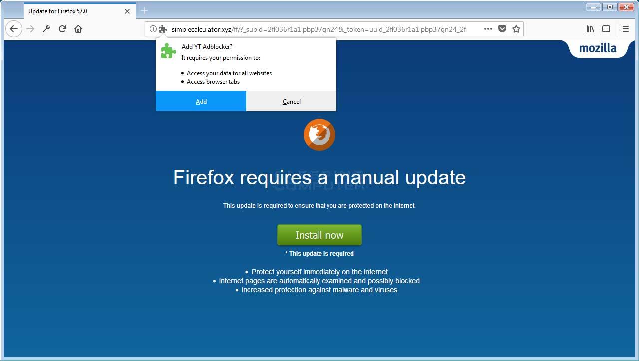 remove the yt adblocker adware firefox addon