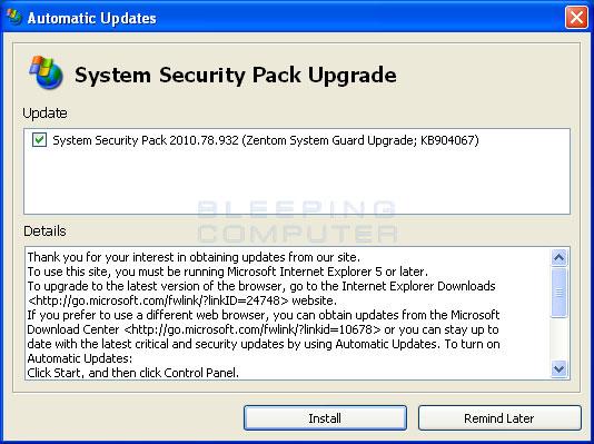 Fake Automatic Update alert