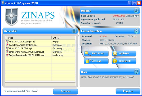 Zinaps scan results