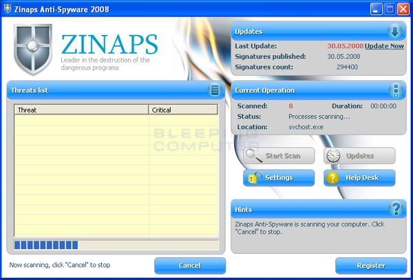 Zinaps Anti-Spyware 2008 screen shot