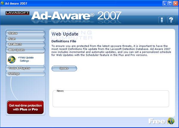 Ad-Aware 2007 Free Update Screen