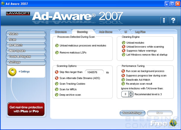 Ad-Aware 2007 Scanner Settings