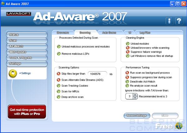 Ad-Aware 2007 Scanner Settings