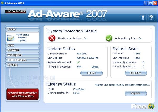 Ad-Aware 2007 Free Starting/Status Screen