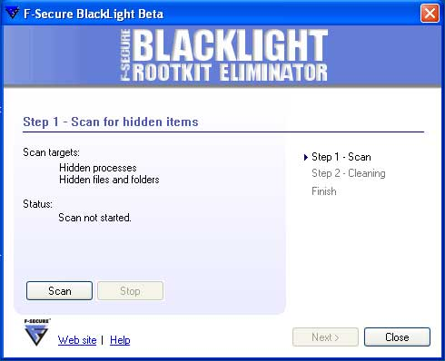 F-Secure Blacklight Begin Scan