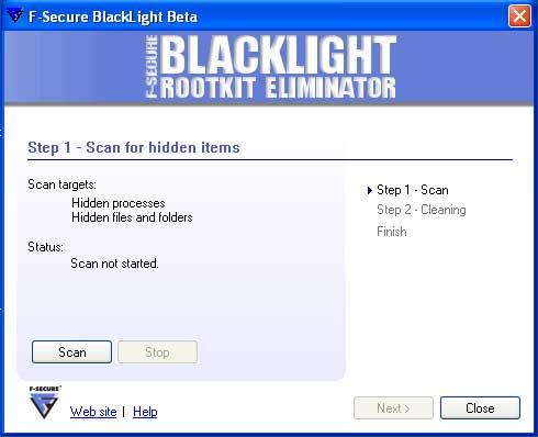 F-Secure Blacklight Begin Scan