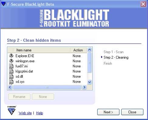 Clean rootkits found by Blacklight
