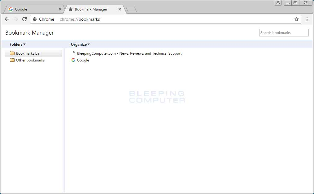 Google Chrome Bookmark Manager